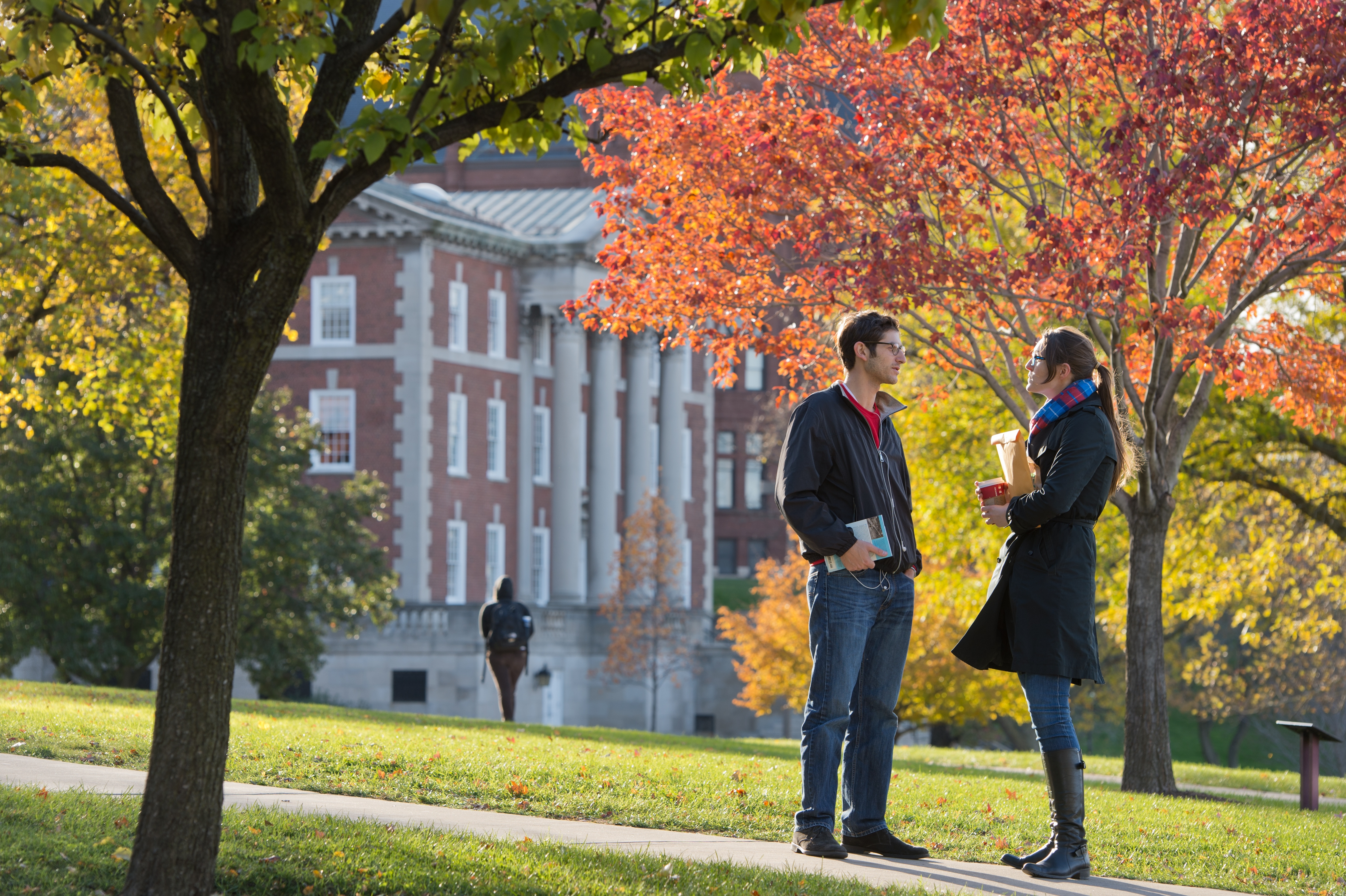 Campus Scenes Fall Students Talking Walking