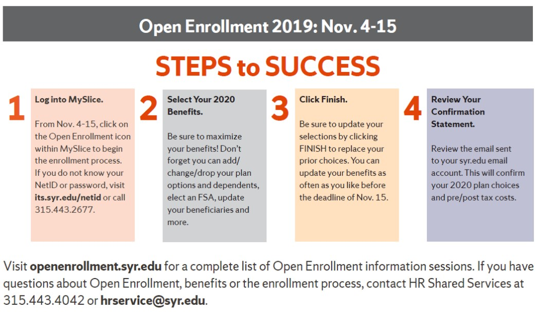 Open Enrollment 2019: Nov. 4-15 Steps to Success 1.	Log in to MySlice. From Nov. 4-15, click on the Open Enrollment icon within MySlice to begin the enrollment process. If you do not know your NetID or password, visit its.syr.edu/netid or call 315.443.2677. 2.	Select Your 2020 Benefits. Be sure to maximize your benefits! Don't forget you can add/change/drop your plan options and dependents, elect an FSA, update your beneficiaries and more. 3.	Click Finish. Be sure to update your selections by clicking FINISH to replace your prior choices. You can update your benefits elections as often as you'd like before the deadline of Nov. 15. 4.	Review Your Confirmation Statement. Review the email sent to your syr.edu email account. This will confirm your 2020 plan choices and pre/post tax costs. Visit openenrollment.syr.edu for a complete list of Open Enrollment information sessions. If you have questions about Open Enrollment, benefits or the enrollment process, contact HR Shared Services at 315.443.4042 or hrservice@syr.edu.